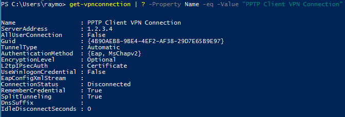 PPTP VPN Connection details with Split Tunnelling