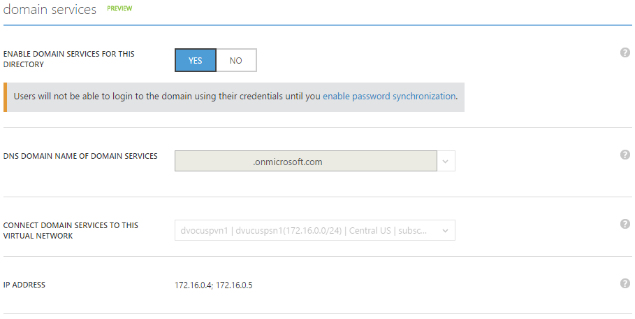Azure AD Domain Services enabled, DNS Server IP Addresses displayed