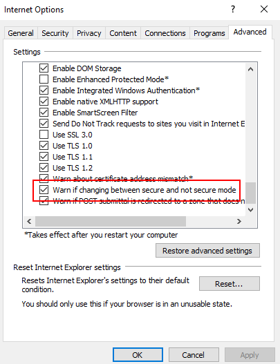 Internet Explorer Advanced Security Warn when changing secure mode