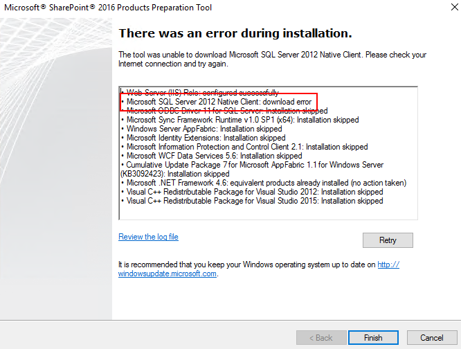 SharePoint 2016 Prerequisite Installer Download Error